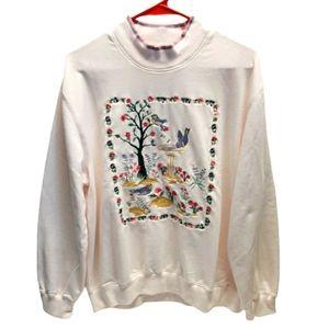 "Vintage ALFRED DUNNER ""Birds"" Embroidered Pullover"
